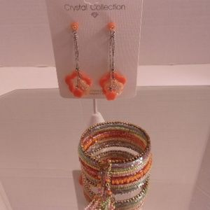 Nwt Bracelet & crystal collection earrings. L38-4